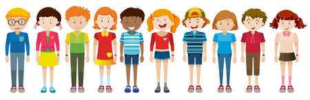 group of kids: Simple characters of boys and girls illustration