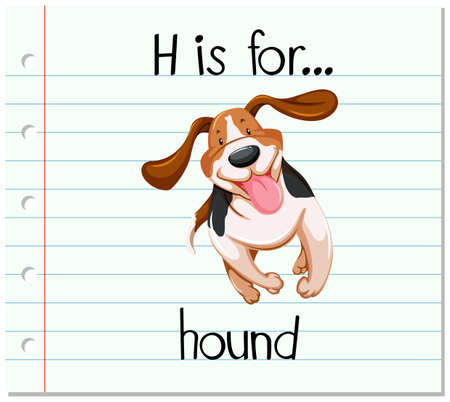 cute dogs: Flashcard letter H is for hound illustration