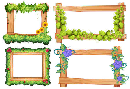 Marcos de madera con la vid y la ilustración de las flores Foto de archivo - 53445558