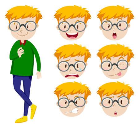 expresiones faciales: Hombre con muchas expresiones faciales ilustración