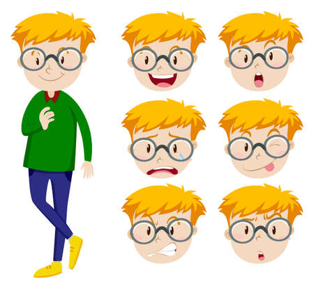 multiple image: Man with many facial expressions illustration Illustration