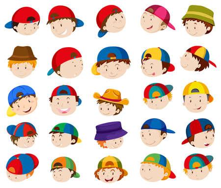 Jongen hoofden met gezichtsuitdrukkingen illustratie