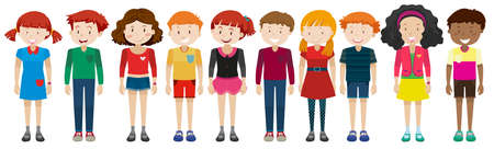 adolescent boy: Teenage boys and girls standing illustration