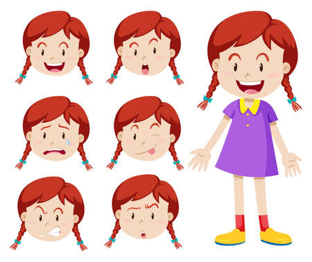 sad little girl: Red hair girl with facial expressions illustration