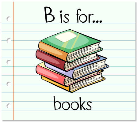 spelling book: Flashcard letter B is for books illustration Illustration