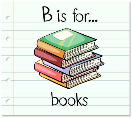 Flashcard letter B is for books illustration Stock Vector - 53446171
