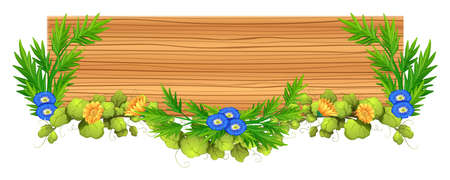plywood: Wooden board with vine and flower illustration