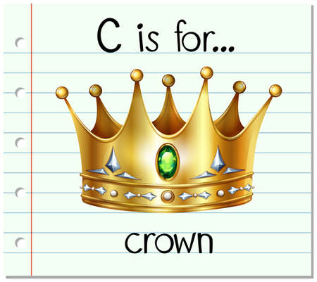 diamond letters: Flashcard letter C is for crown illustration