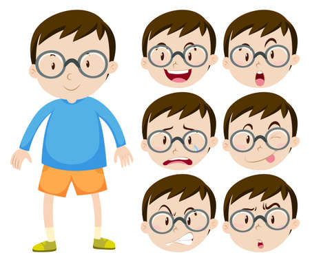 boy with glasses: Little boy with glasses and many facial expressions illustration