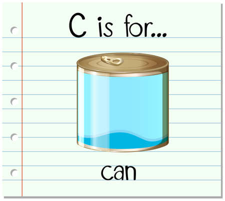 tin: Flashcard letter C is for can illustration