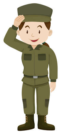grownup: Female soldier in green uniform illustration