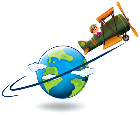 flying: Girl flying aeroplane around the world illustration