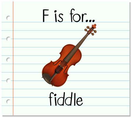 fiddle: Flashcard letter F is for fiddle illustration
