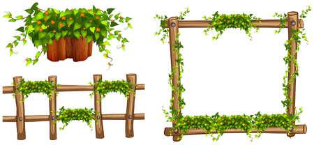 Marco de madera y con cerca de plantas de la ilustración Foto de archivo - 53446604
