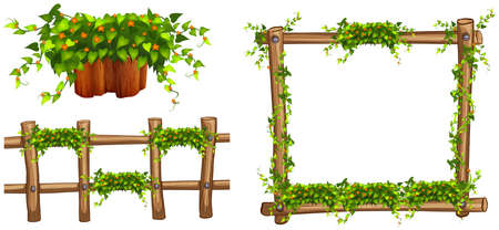 wooden fence: Wooden frame and fence with plants illustration Illustration