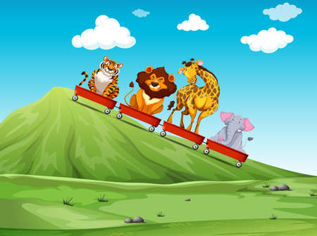 red animal: Wild animal riding on red wagon illustration Illustration