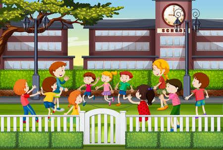 Niños jugando en la ilustración de tierra de la escuela