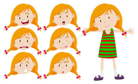 angry teenager: Little girl with different emotions illustration