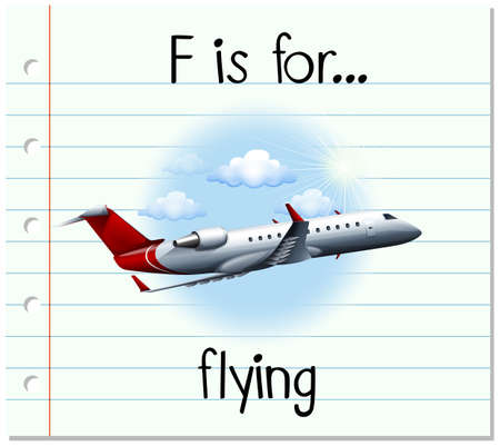 aircraft aeroplane: Flashcard letter F is for flying illustration