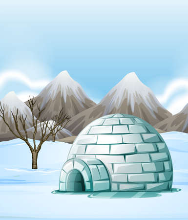 igloo: Nature scene with igloo on the ground illustration