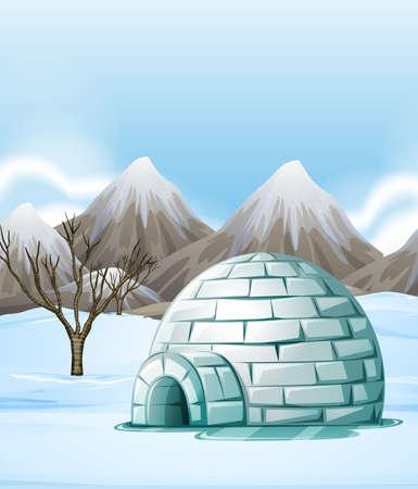 Natuur scène met iglo op de grond illustratie Vector Illustratie