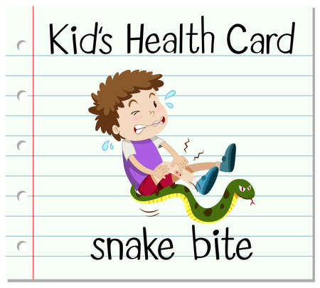 hurt: Health card with boy and snake bite illustration