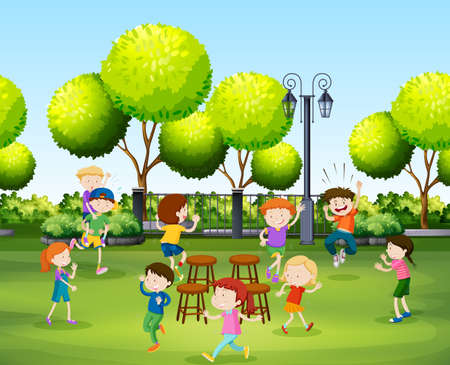 garden chair: Children playing music chair in the park illustration Illustration
