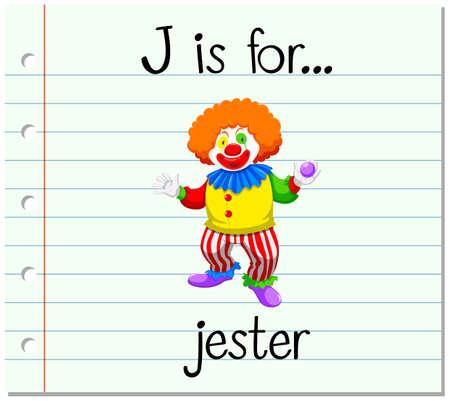 j: Flashcard letter J is for jester illustration Illustration