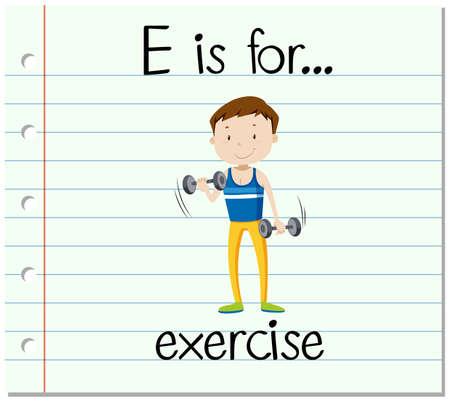 Flashcard letter E is for exercise illustration Illustration