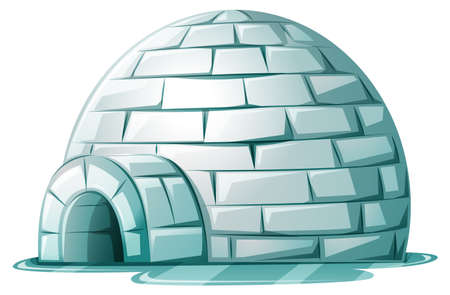 Igloo on icy ground illustration Stock Illustratie