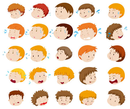 fearful: Boy heads with expressions illustration