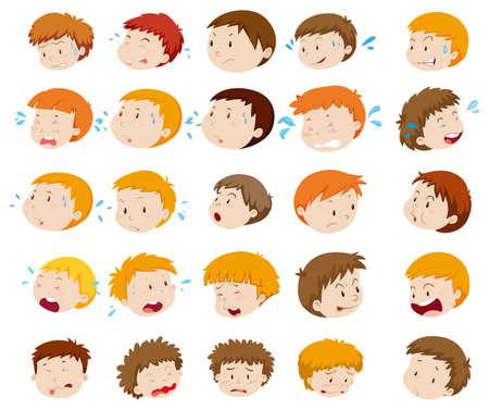 niños tristes: cabezas muchacho con expresiones ilustración