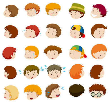 human face: Boys with different emotions illustration