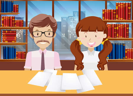 teacher and student: Teacher and students in the library illustration