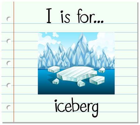 Flashcard letter I is for iceberg illustration Illustration