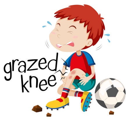 accident: Boy having grazed knee illustration Illustration