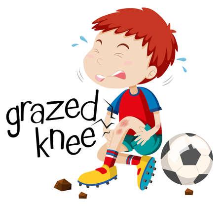 grazed: Boy having grazed knee illustration Illustration