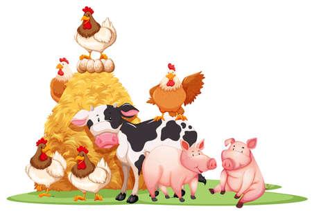 Los animales de granja con la ilustración pajar