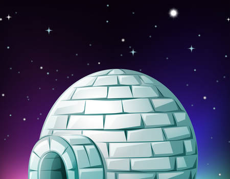 night time: Igloo at night time illustration Illustration