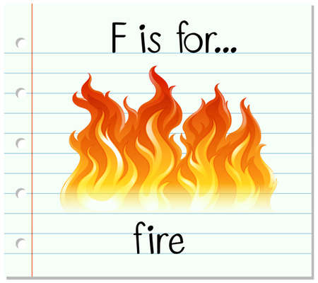 flame letters: Flashcard letter F is for fire illustration