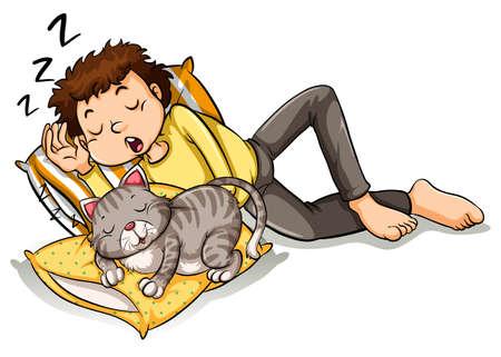 taking nap: Man taking nap with pet cat illustration Illustration