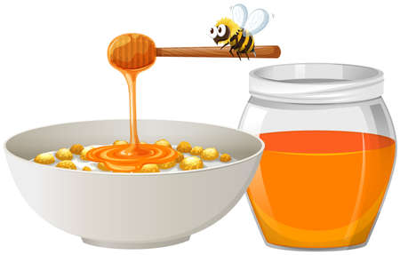 insect flies: Cereal with honey in bowl illustration