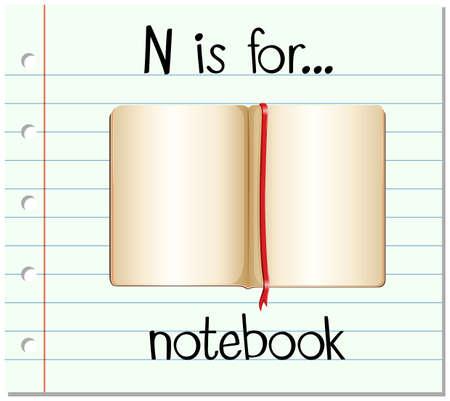 notebook: Flashcard alphabet N is for notebook illustration