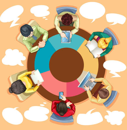 round table: Business people working on the round table illustration Illustration