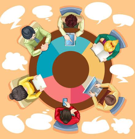 Geschäftsleute, die auf dem runden Tisch Abbildung Arbeits