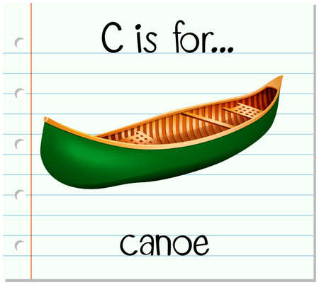 Flashcard letter C is for canoe illustration Ilustração