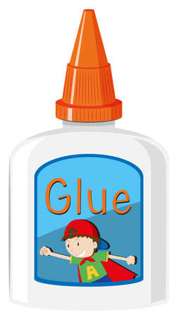 Bottle of glue with orange cap illustration Stock Illustratie