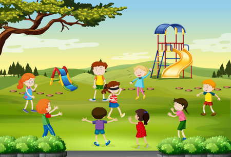 kids outside: Children playing blind folded in the park illustration