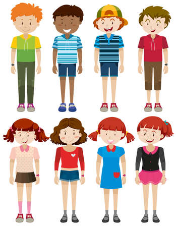 small group of objects: Boys and girls smiling illustration