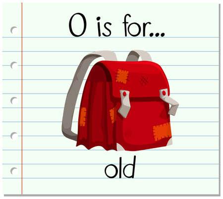 old letter: Flashcard letter O is for old illustration